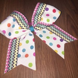 Cheer Bow - multicolor polka dots and stripes